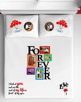 Personalized Photo Bedsheet white forever