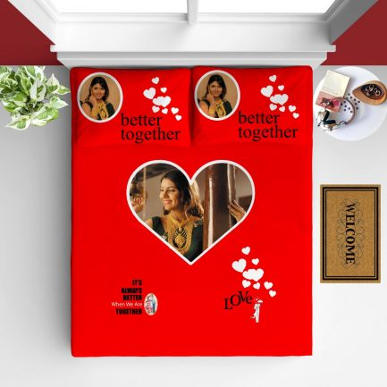 Personalized Photo Bedsheet Red Heart