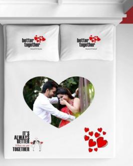 Customized Photo Bedsheet White Heart