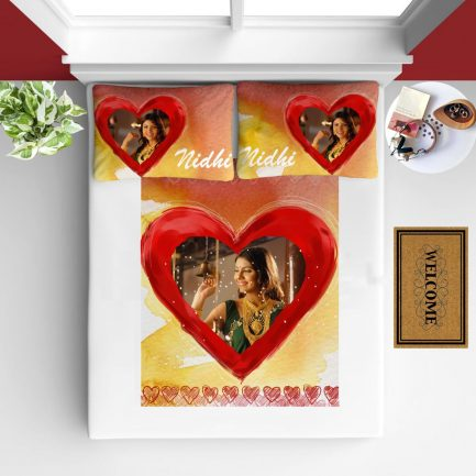Personalized Photo Bedsheet White Red Heart