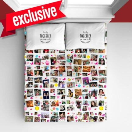Personalized Bedsheet White Collage photos