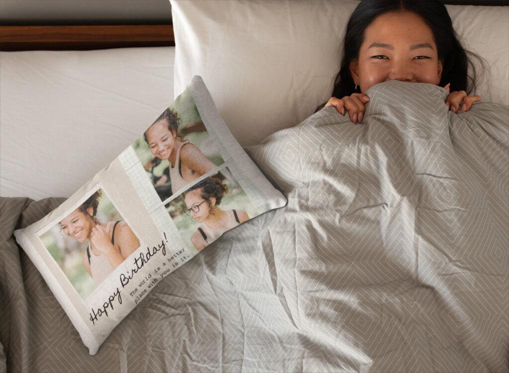Custom bedsheet throw pillow sleep relieve stress