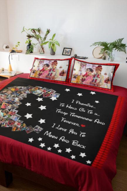 Personalised Half Moon Karwa Chauth Bedsheet Set